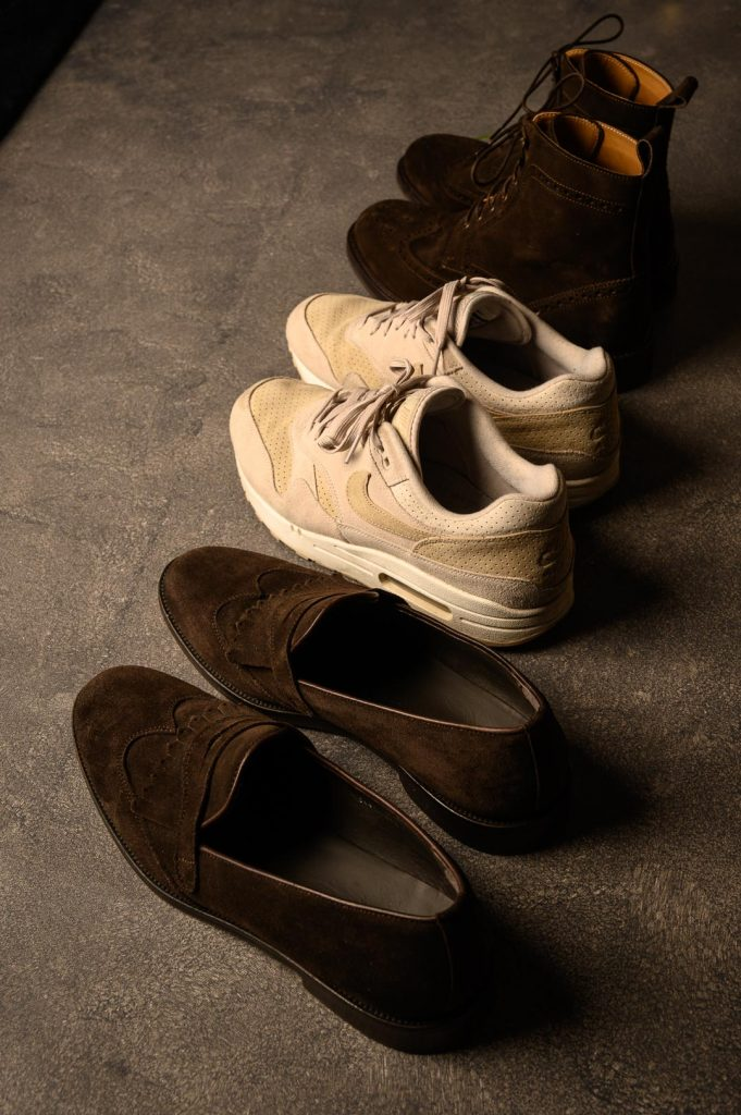 Suede boots, Nike sneakers and suede loafers