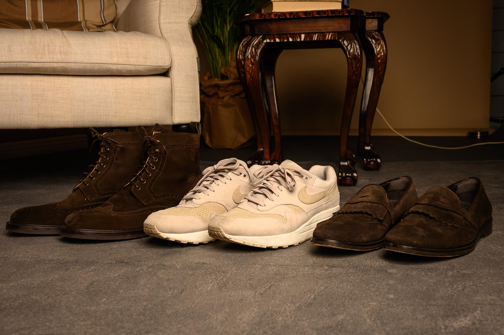 Suede boots, Nike Air Max 1s and suede loafers
