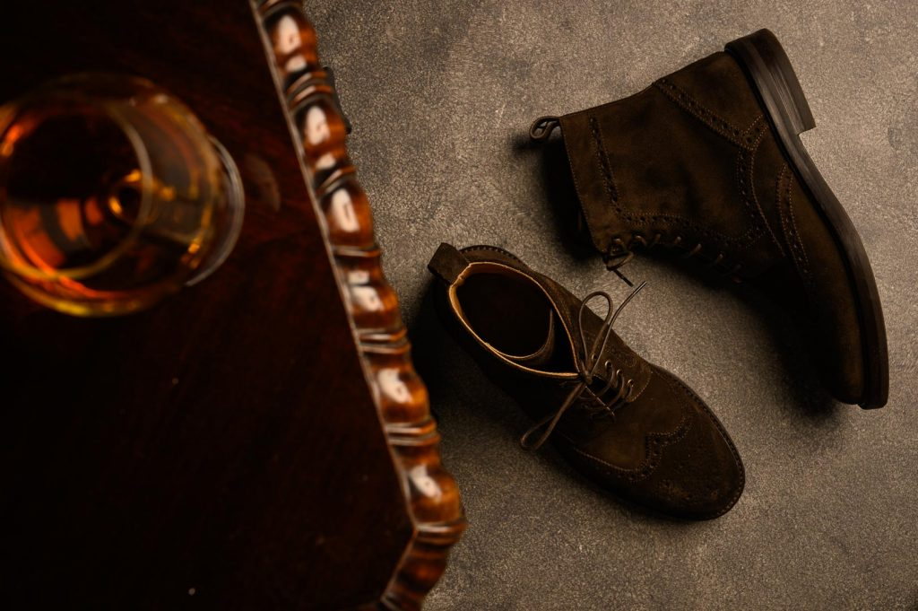 Brown suede boots for colder spring days