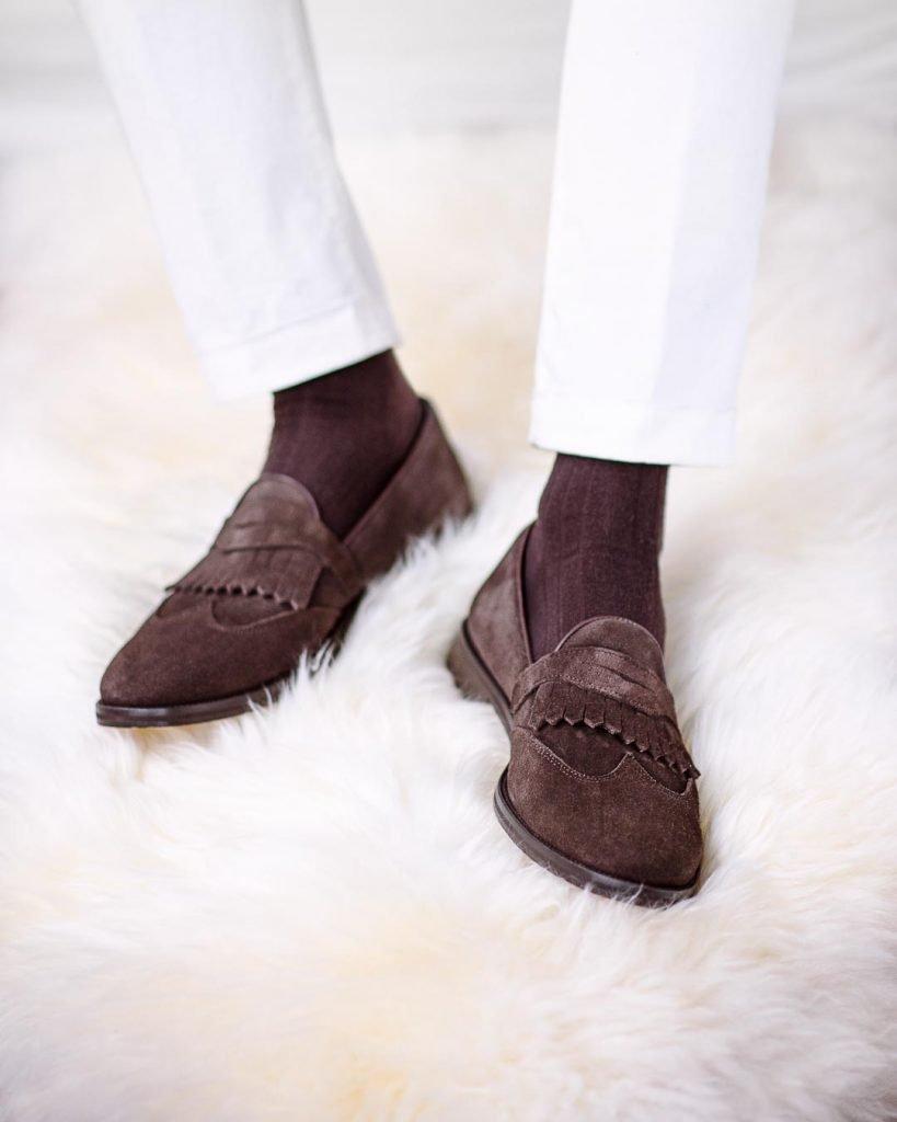 Dark brown suede loafers